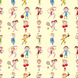 Seamless sport player pattern Royalty Free Stock Photos