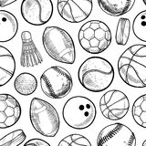 Seamless sports background. Doodle style sports equipment seamless vector background ready to be tiled Royalty Free Stock Photos