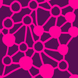 Spots and connecting lines in pink color pattern. Seamless spots and connecting lines in pink color pattern, all-over print Royalty Free Stock Photo