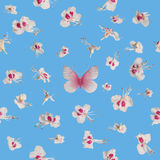 Seamless Spring Blossoms with Butterfly. Seamless spring blossoms with a butterfly isolated on blue stock photography
