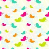 Seamless Spring Butterflies. Spring colors butterflies pattern Stock Photo