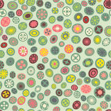 Seamless spring fabric pattern with flower spots Royalty Free Stock Photos
