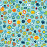 Seamless spring fabric pattern with flower spots Royalty Free Stock Photo