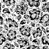 Seamless spring floral pattern. Black and white seamless texture with flowers in bloom for your design Royalty Free Stock Photography