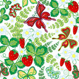 Seamless spring floral pattern with strawberries and flowers and butterflies (vector EPS 10). Stock Photos