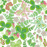 Seamless spring floral pattern with strawberries and flowers and butterflies (vector EPS 10). Stock Photo