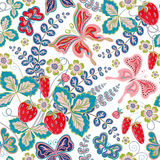 Seamless spring floral pattern with strawberries and flowers and butterflies (vector EPS 10). Royalty Free Stock Image