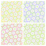 Seamless spring floral patterns. Four seamless (easy to repeat) spring floral patterns (background, wallpaper, print, swatch) of pastel colors Royalty Free Stock Images