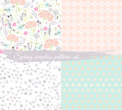 Seamless spring floral patterns set. Background with flowers Stock Photos