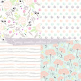 Seamless spring floral patterns set. Background with flowers Royalty Free Stock Photos
