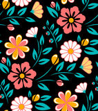Seamless spring flower pattern on black background. Seamless spring flower pattern on white. Ukrainian style Royalty Free Stock Image