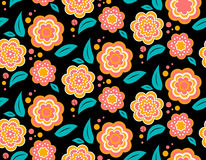 Seamless spring flower pattern on black background. Seamless spring flower pattern on white. Ukrainian style Stock Photos