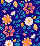 Seamless spring flower pattern on blue background. Seamless spring flower pattern on dark blue background Stock Image