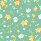 Seamless spring flower pattern. On green background Stock Photography