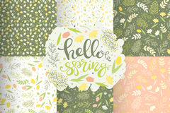 Seamless spring flower patterns set vector vector illustration