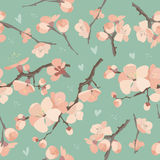 Seamless spring flowers on tree branch pattern. On blue background stock illustration