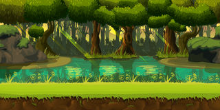 Seamless spring forest landscape, never ending vector nature background with separated layers for game design. 2d game application. Vector Illustration for