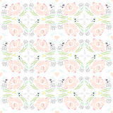 Seamless spring kaleidoscope floral pattern. Royalty Free Stock Photography