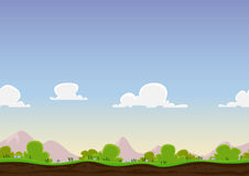 Seamless Spring Landscape. Illustration of a cartoon seamless never ending horizontal spring or summer landscape background loop, with grass, soil, bush Stock Photos