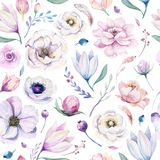 Seamless spring lilic watercolor floral pattern on a white background. Pink and rose flowers, weddind decoration. Seamless spring lilic watercolor floral pattern royalty free illustration