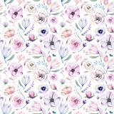 Seamless spring lilic watercolor floral pattern on a white background. Pink and rose flowers, weddind decoration royalty free stock image