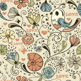 Seamless Spring Pattern. Seamless floral  spring pattern with birds Stock Photography