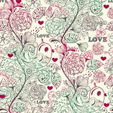 Seamless Spring Pattern. Seamless spring floral valentine's day  pattern Royalty Free Stock Image