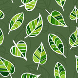Seamless Spring Pattern with Bright Green Leaves. Royalty Free Stock Photography