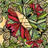 Seamless spring pattern butterflies and flowers. Floral pattern. Vector illustration of seamless spring pattern butterflies and flowers. Floral pattern for Stock Photography