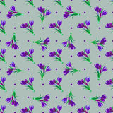 Seamless spring pattern. Crocus, saffron, lily of the valley, sn. Owdrops. Flet design. Vector illustration Stock Photo