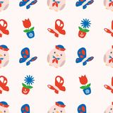Seamless spring pattern with cute red and blue maritime chubby chicks, butterflies and spring flowers on white background royalty free illustration