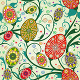 Seamless spring pattern with easter eggs. Stock Photo