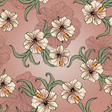 Seamless spring pattern with hibiscus Royalty Free Stock Image