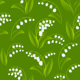 Seamless spring pattern with lilies of the valley Stock Photo