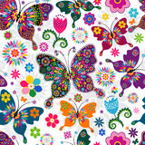 Seamless spring pattern. Seamless spring white floral pattern with colorful butterflies and flowers (vector Royalty Free Illustration