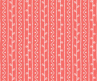 Seamless spring sketch vector pattern. Twigs lines and zigzags with circles background. Hand drawn abstract branch illustration Royalty Free Stock Photos