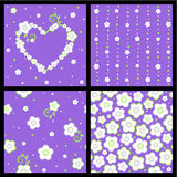 Seamless spring and Valentine floral patterns vector illustration