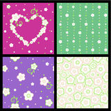 Seamless spring and Valentine floral patterns. Set of four seamless (repeatable, tilable) spring and Valentine Day floral patterns (backgrounds, wallpapers stock illustration