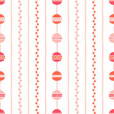 Seamless spring vector pattern. Red pink vertical lines, circles and twigs on white background. Hand drawn abstract branch illustr. Seamless spring vector Royalty Free Stock Image