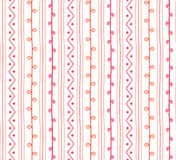 Seamless spring vector pattern. Twigs lines and zigzags with circles background. Hand drawn abstract branch ornament Stock Photo