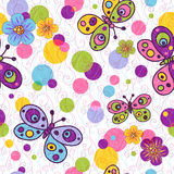 Seamless spring vivid pattern. Seamless spring vivid floral pattern with colorful vintage butterflies and balls and curls (vector EPS 10 Royalty Free Stock Images