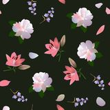 Seamless square floral ditsy pattern with white roses, pink lilies and little bell flowers on black background stock illustration