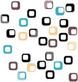 Seamless square pattern in black, orange, brown and blue Royalty Free Stock Image