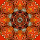 Seamless square pattern with bright flower - mandala in fiery tones. Beautiful illustration. Mat, carpet, lovely tablecloth, bandana print Royalty Free Stock Images