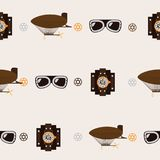Seamless square pattern with steampunk accessories like old fashioned dirigible, aviator glasses and watch clocks on beige backgro. Und Royalty Free Stock Image