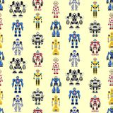 Seamless square robots pattern Royalty Free Stock Image
