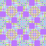 Seamless squares, circles and stripes pattern purple yellow pink turquoise. Abstract geometric seamless background. Regular circles and stripes pattern in Stock Photo