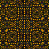Seamless squares and ellipses pattern orange dark gray. Abstract geometric seamless background. Regular squares and ellipses pattern orange with dark green and Royalty Free Illustration