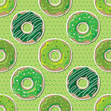 Seamless St Patrick's Day donuts Stock Image
