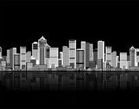 seamless stads- för konstbakgrundscityscape Arkivfoto